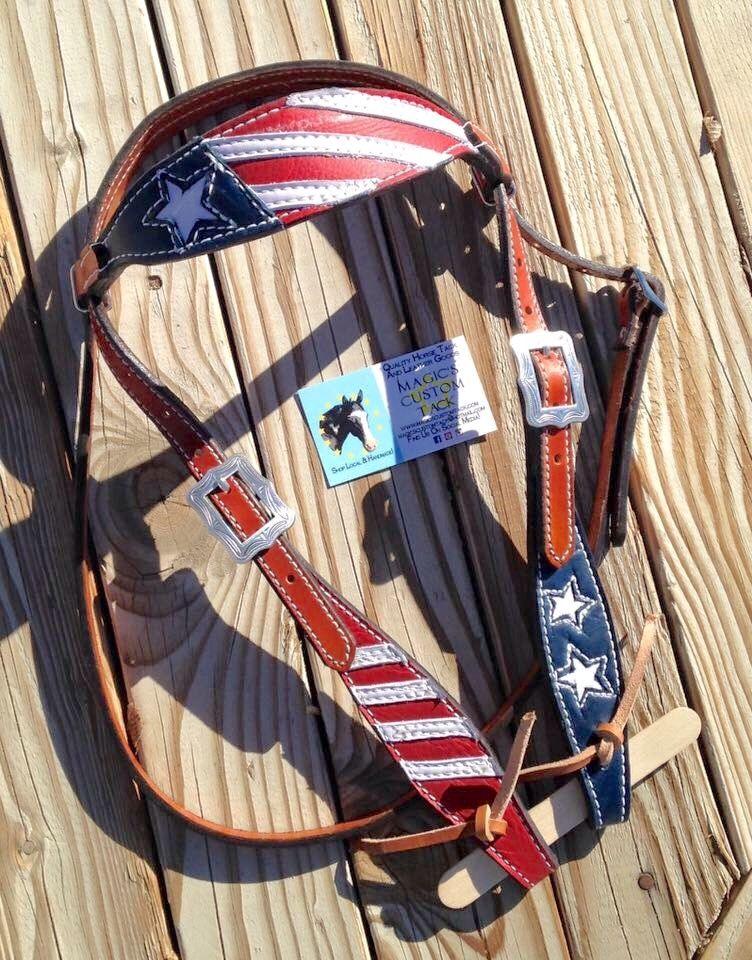 Magics Custom Tack Patriotic American flag red white and blue headstall bridle…