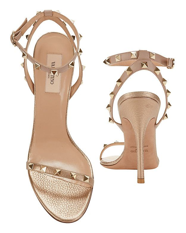 d2c98e835045 Valentino Rockstud Ankle Strap Metallic High Sandal  Signature rockstuds  detail the single strap across the toes
