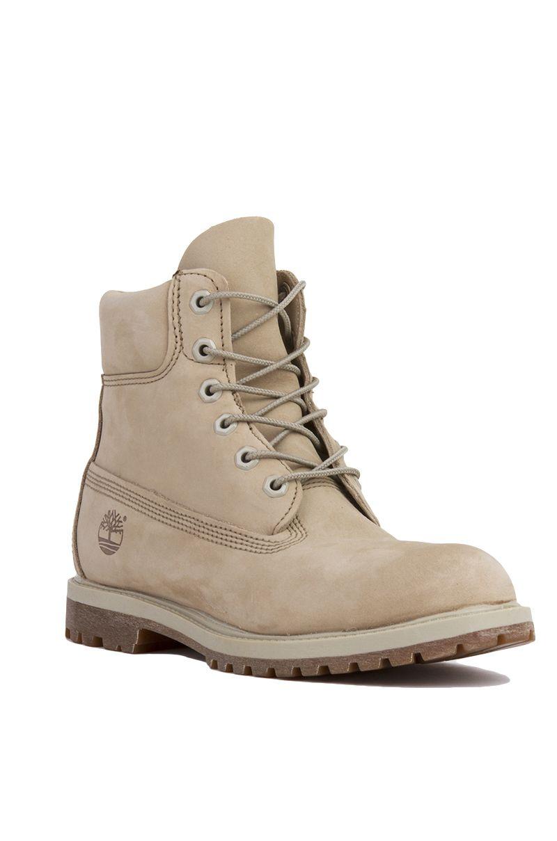 Off White Nubuck Timberland 6Inch Premium Waterproof Boots  Womens Shoes  AKIRA