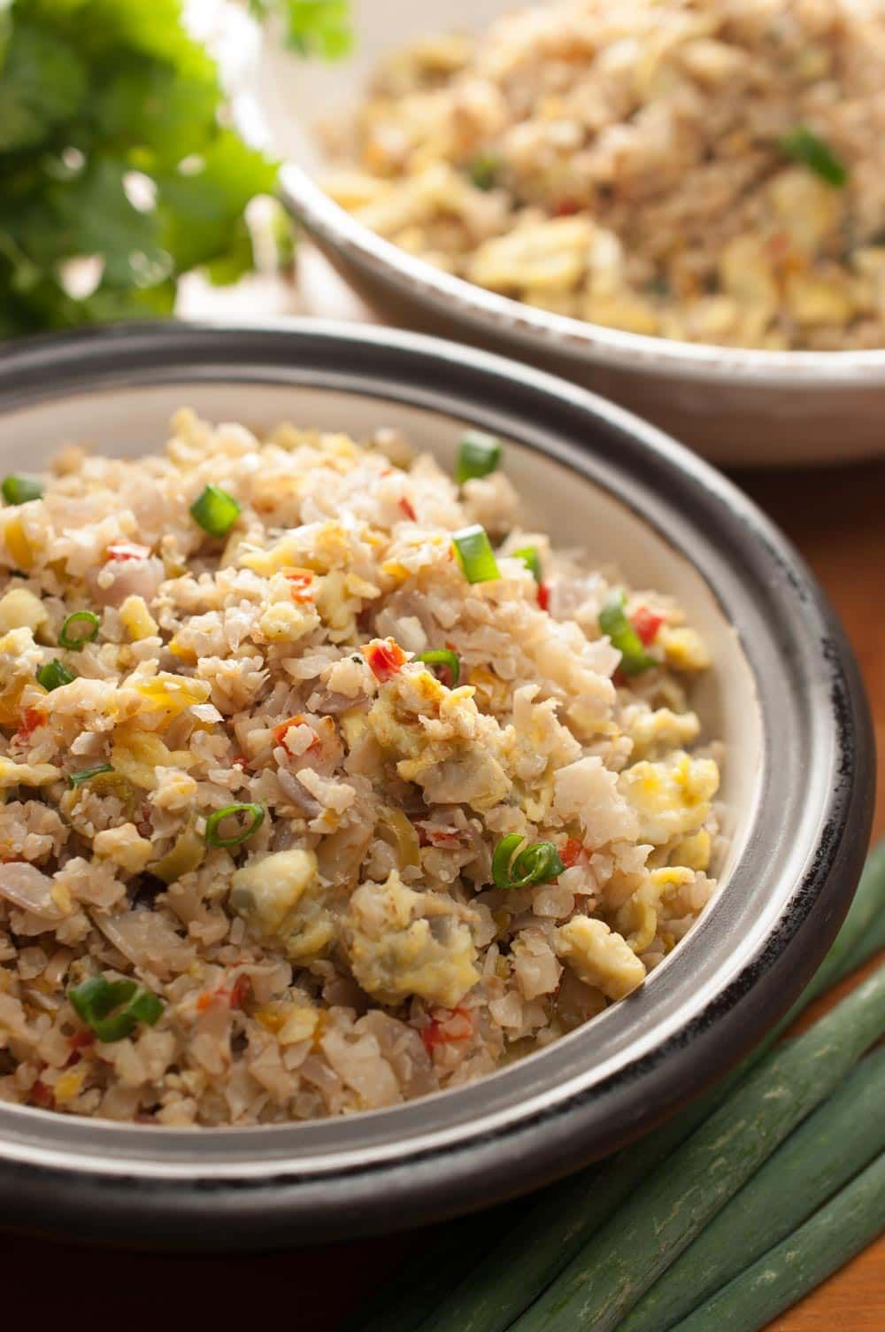 Cauliflower rice stir fry with eggs paleo keto gluten