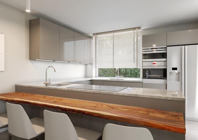 Bancone in legno massello, cucina laccata tortora, piano in marmo ...