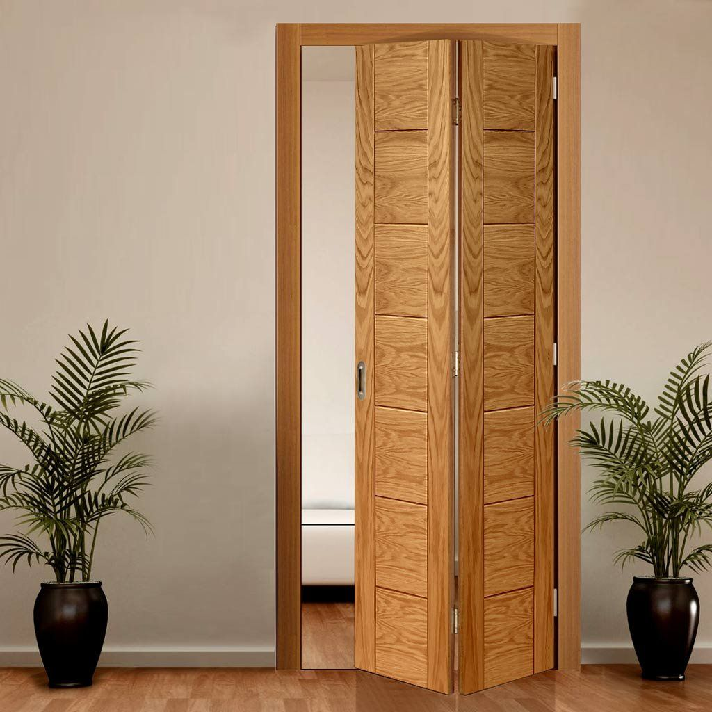 Palermo Flush Oak Bifold Door Oak Bifold Doors Folding Doors Bifold Doors