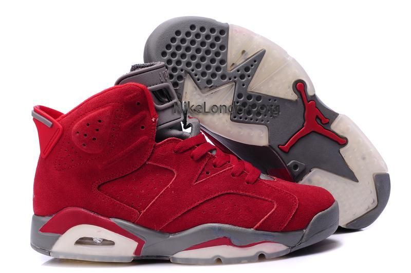 Retro Jordans- Men's Nike Air Jordan 6 Furry Red Grey .