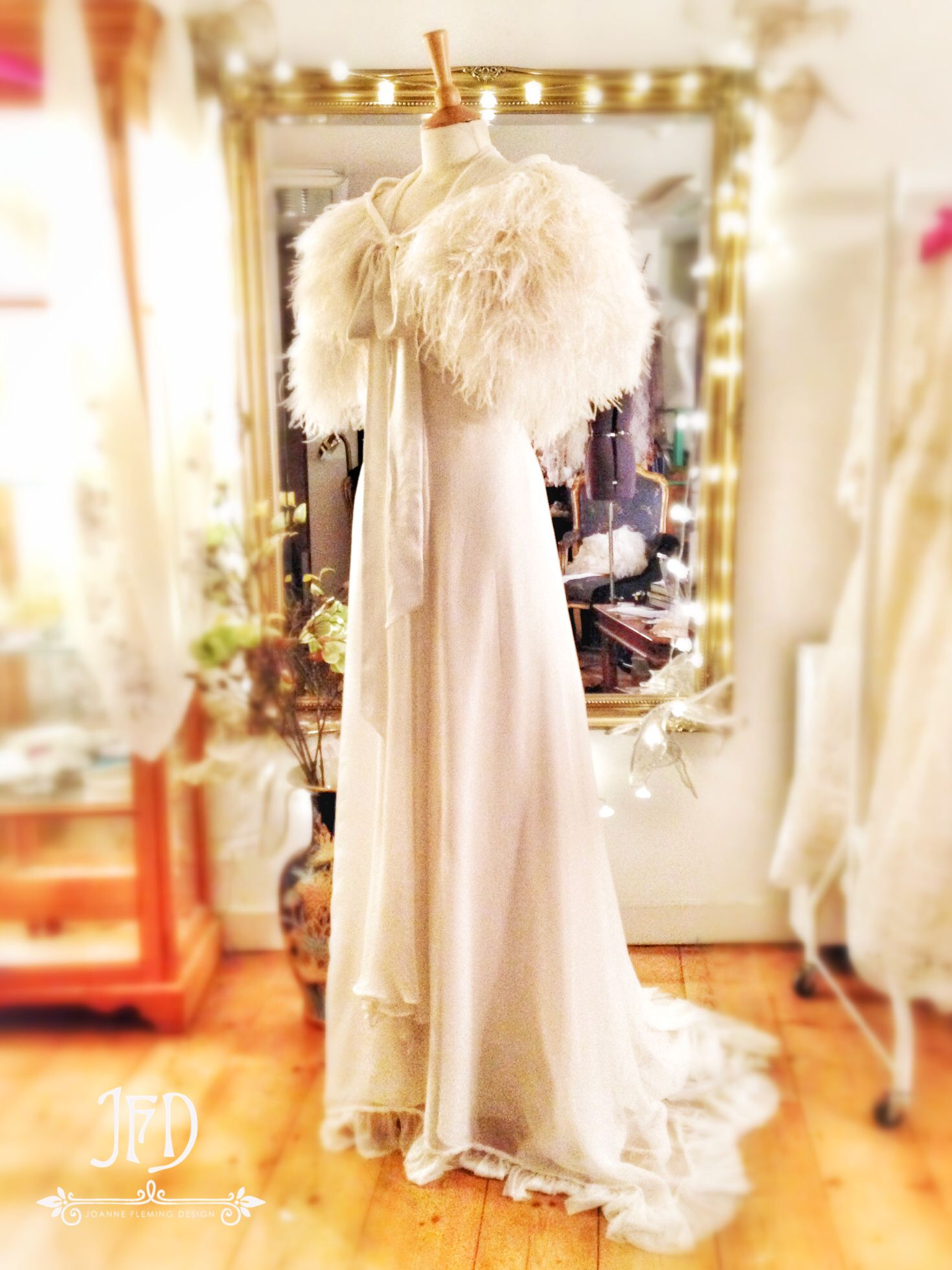 Joanne Fleming Design Mitsou Deluxe Ostrich Feather And Silk Satin Wedding Cape