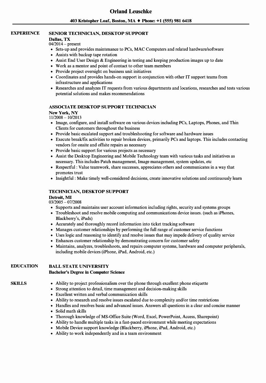 It Support Technician Resume Luxury Technician Desktop