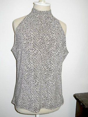 Michael Kors Tank Top Size L Beige Brown New Blouse Geometric Zipper Back New
