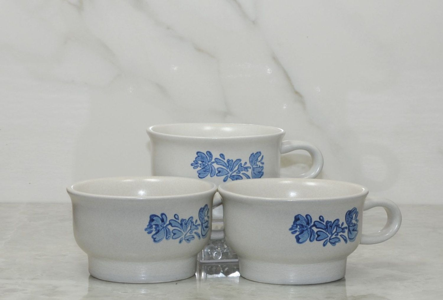 Vintage Pfaltzgraff YORKTOWNE Coffee Mugs,Tea Mugs, Blue on Gray, Stoneware Mug, Set of 3, Soup Bowl, Blue Floral Mug, Sauces, Desert Bowls by winterparkcollect on Etsy