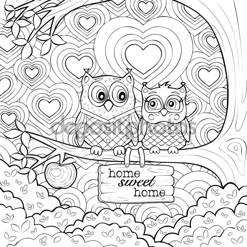 Volwassen Kleurplaten Uil.Kleurplaat Van Twee Steenuilen In Liefde Die Op Een Boom