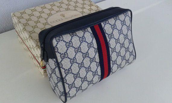 61837f792d893 Weekend sale ! Gucci vintage navy blue GG monogram clutch / bag ...