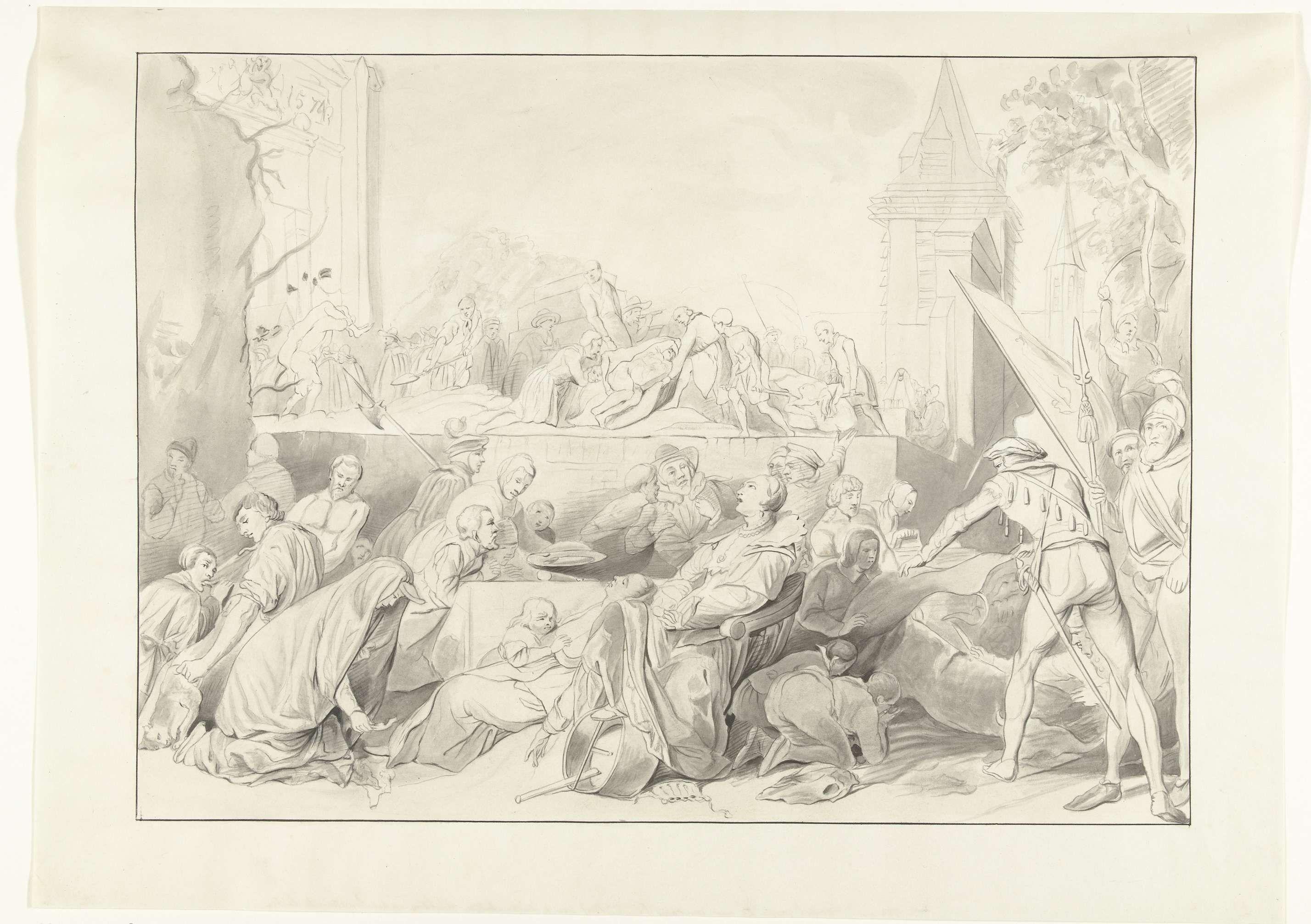 J.C. Wendel | Hongersnood tijdens het beleg van Leiden, 1574, J.C. Wendel, Joris van Schooten, 1854 | Hongersnood tijdens het beleg van Leiden, 1574. Op de voorgrond sterven vrouwen in hun stoel, omringd door man en kinderen. Bovenaan het begraven van slachtoffers bij een kerk.
