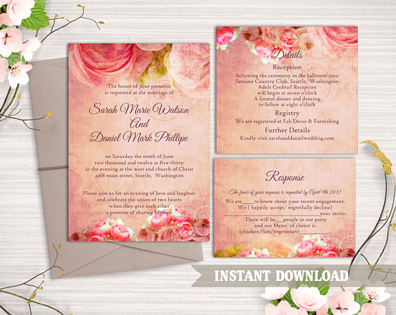 Wedding Invitation Template Download Printable Wedding Invitation - vintage invitation template
