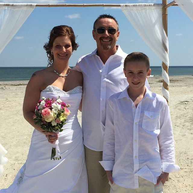 CONGRATULATIONS Brian and Jenny (and Tanner) !!! #stephenpalmerweddings #beachwedding #tybeeisland