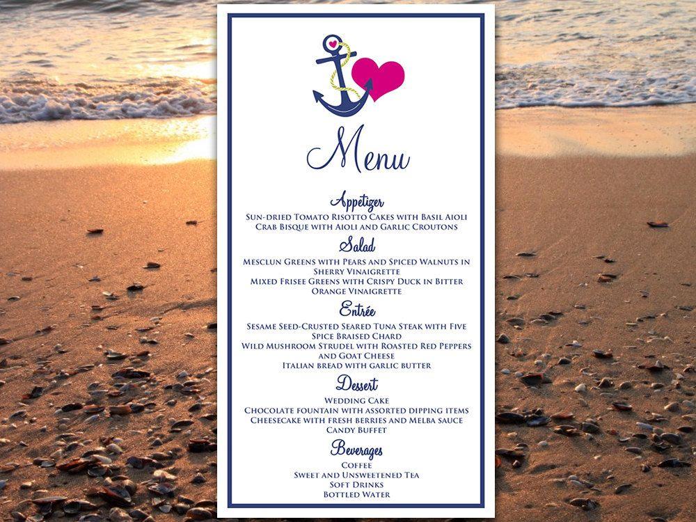 Beach Wedding Menu Card Template Wedding