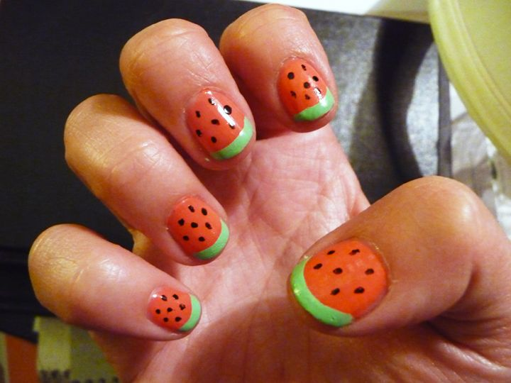 """Happiness is DIY watermelon nails actually turning out nice. (Deborah Lippmann's """"Day Tripper,"""" POP's """"Radioactive"""", and Orly basic black."""