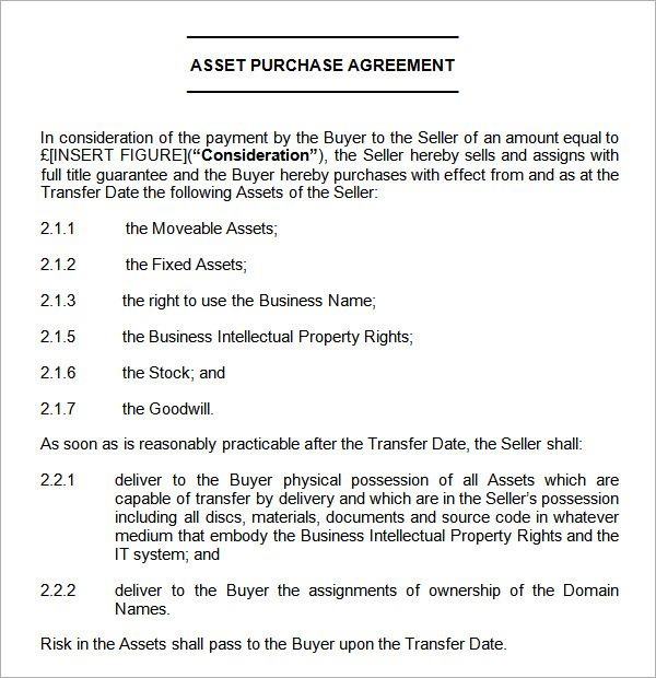 asset purchase agreement sample Agreement Pinterest - rent to own contract sample
