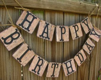 Rustic Banner-Happy Birthday Banner-Barn Wood Look Banner-Vintage Happy Birthday Sign-Cowboy Birthday-Dirty 30-Outdoor BBQ Birthday Banner