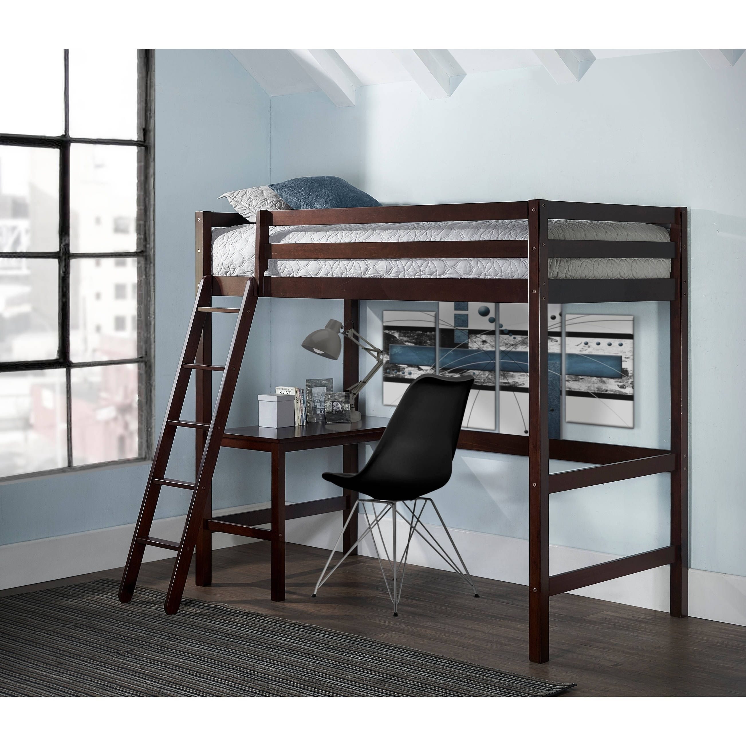 Loft bed with desk and trundle  NE Kids Hillsdale Caspian Twin Study Loft Chocolate Brown Loft