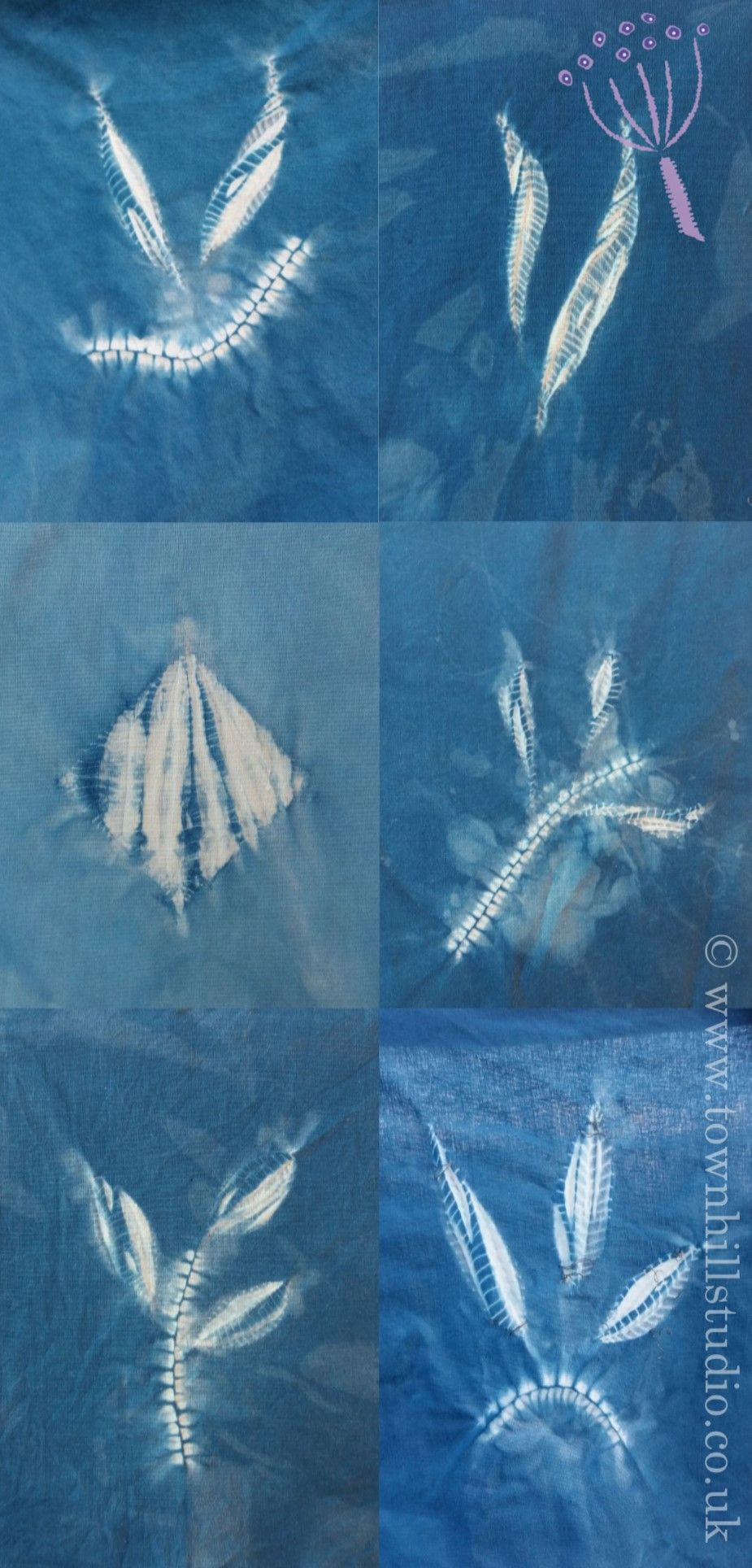 4 pretty designs for you to make in Guntai stitched shibori