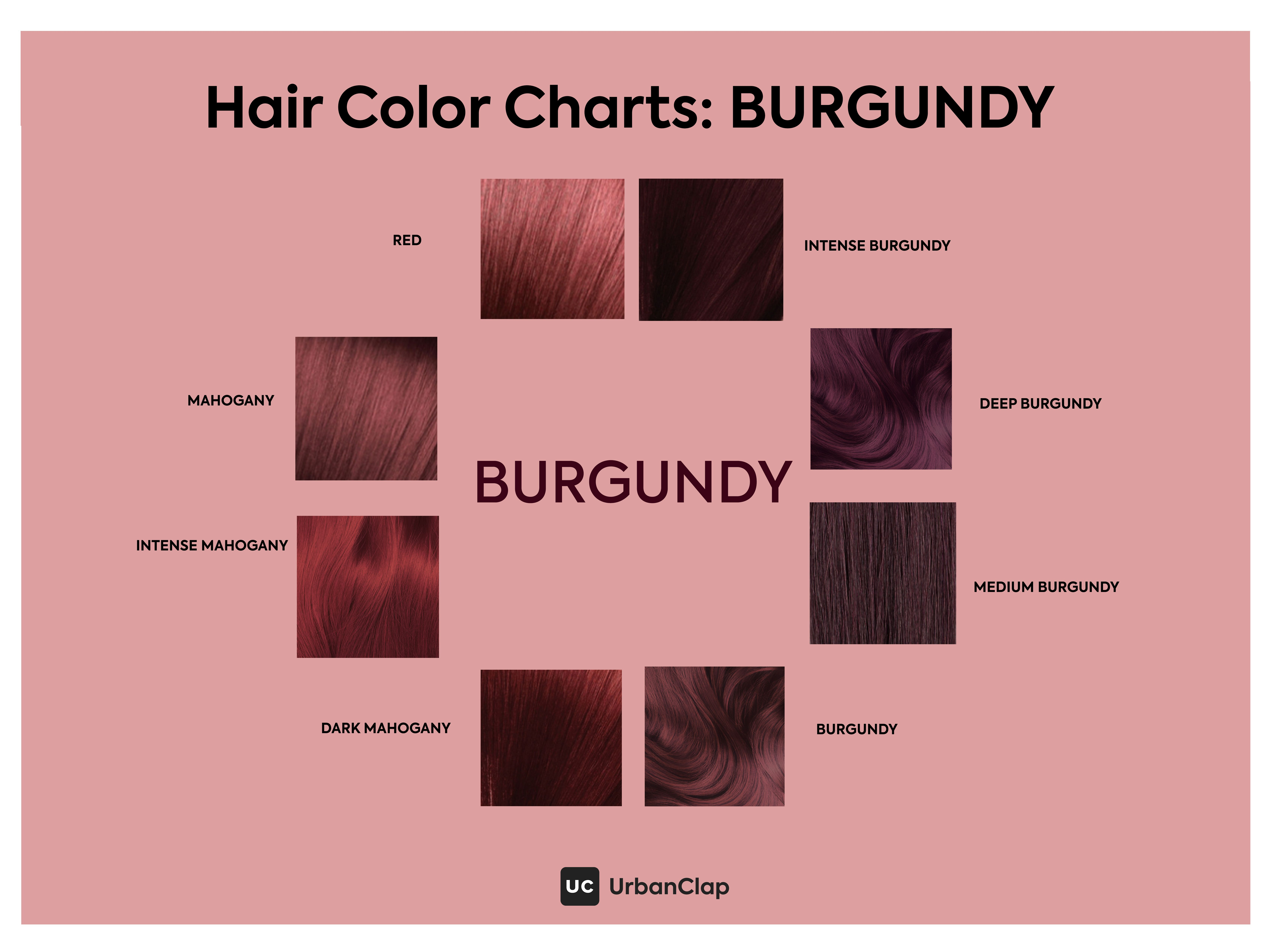 Not Too Purple Not Too Red Is What Makes Burgundy Such A Popular Choice Although Most Burgundy Hair Color Hair Color Chart Burgundy Hair Hair Color Burgundy