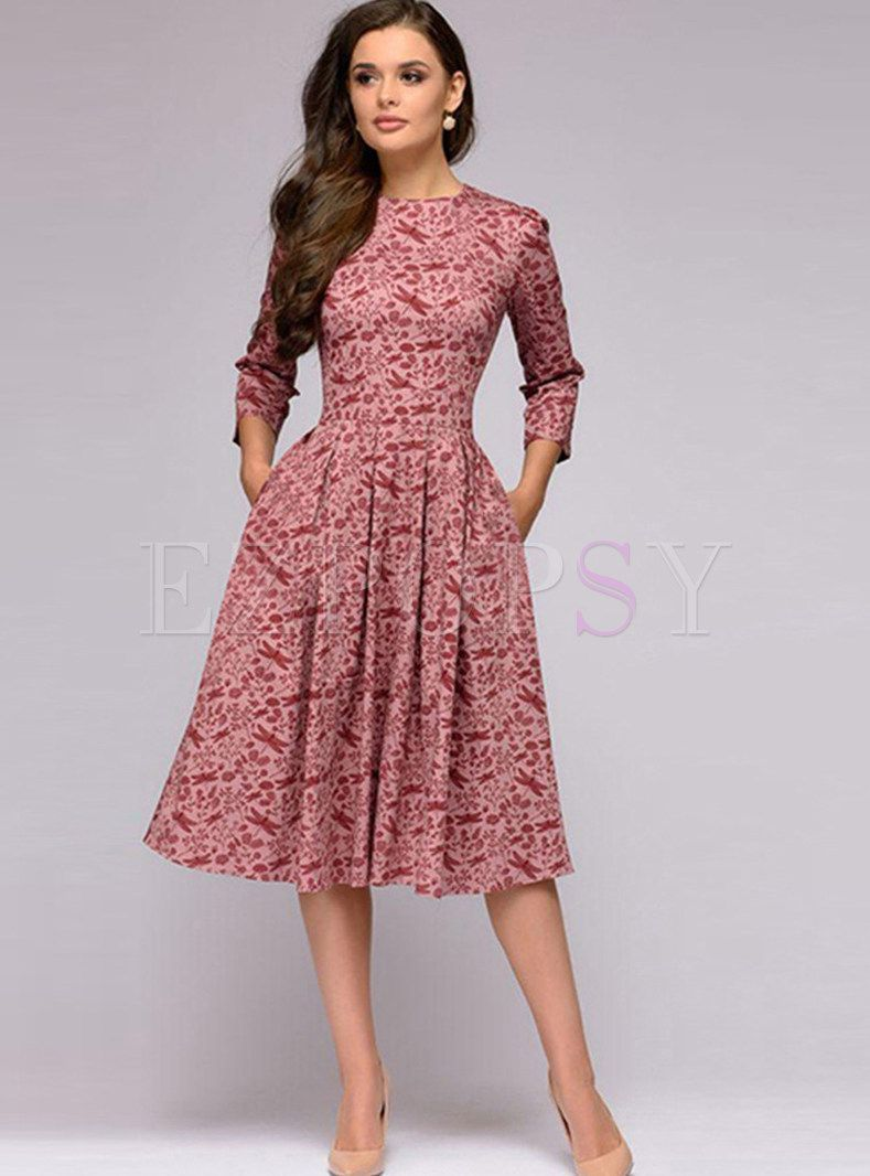 Three Quarters Sleeve Waist Print Skater Dress  Spring dresses