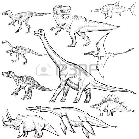hand drawn sketch illustration of different dinosaurs Stock Vector  http://www.123rf.com/profile_perysty