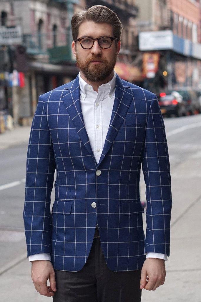 Samuelsohn Bernard Sportcoat Royal Blue Loro Piana Windowpane ...
