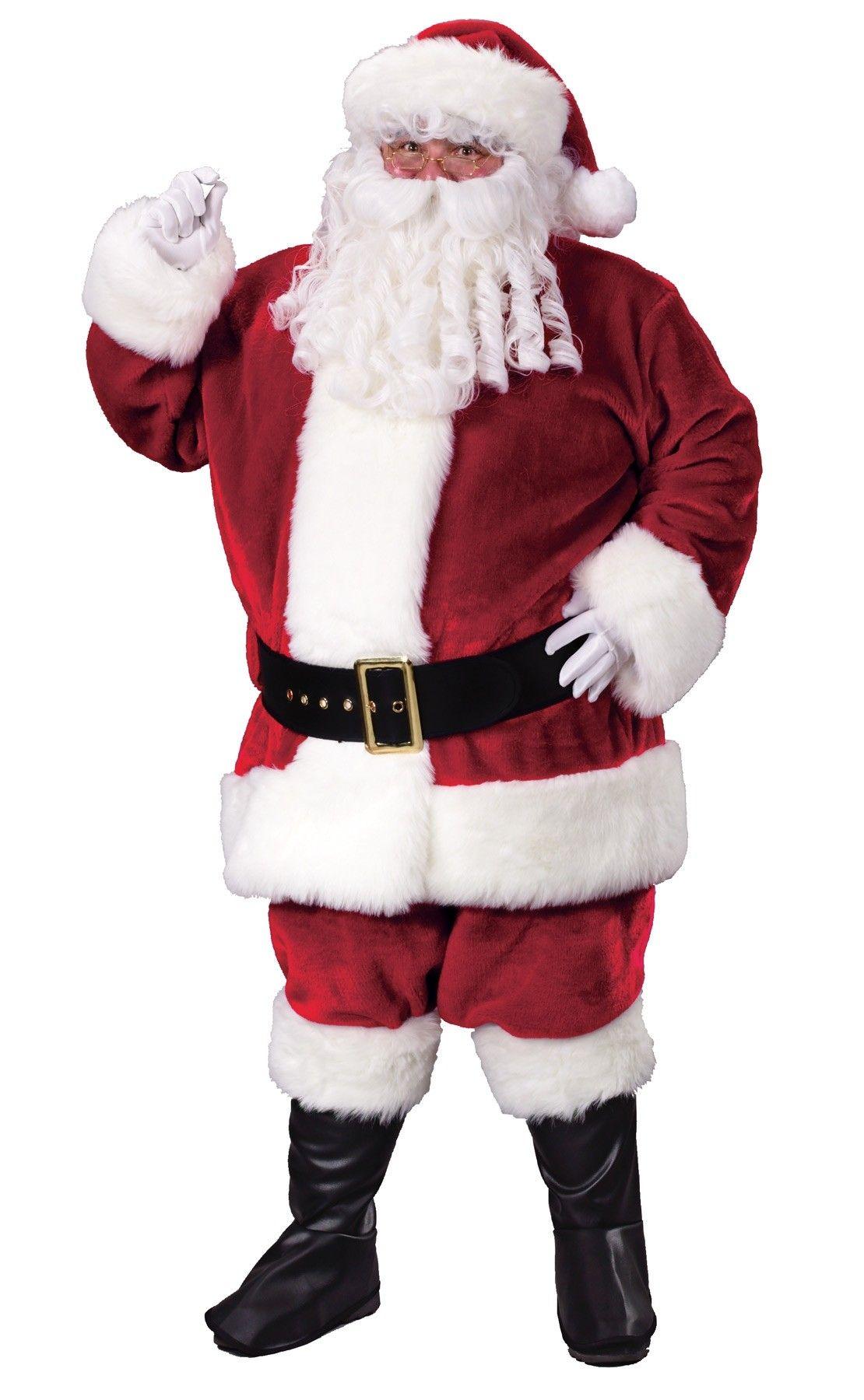 Crimson Regency Plush Santa Suit Claus Costume Christmas Fancy Dress