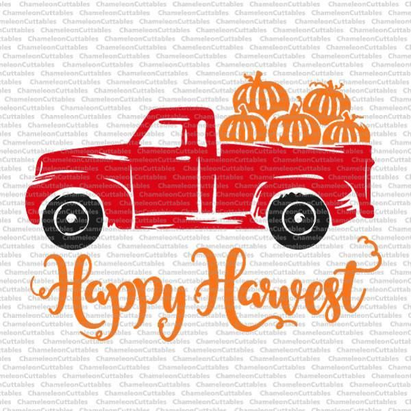 Happy Harvest Truck With Pumpkins Svg Png Dxf Eps Red Truck