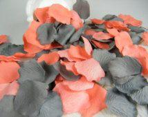 Coral & Grey Artificial Rose Petals | 500 | Coral and Gray Wedding | Flower Girl Basket Petals | Ceremony Petals Table Decor | NEW COLOR