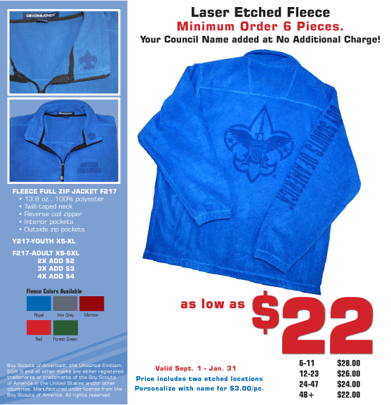 Fleece Promo- see it at advantageemblem.com or call 800.626.4948 for details!