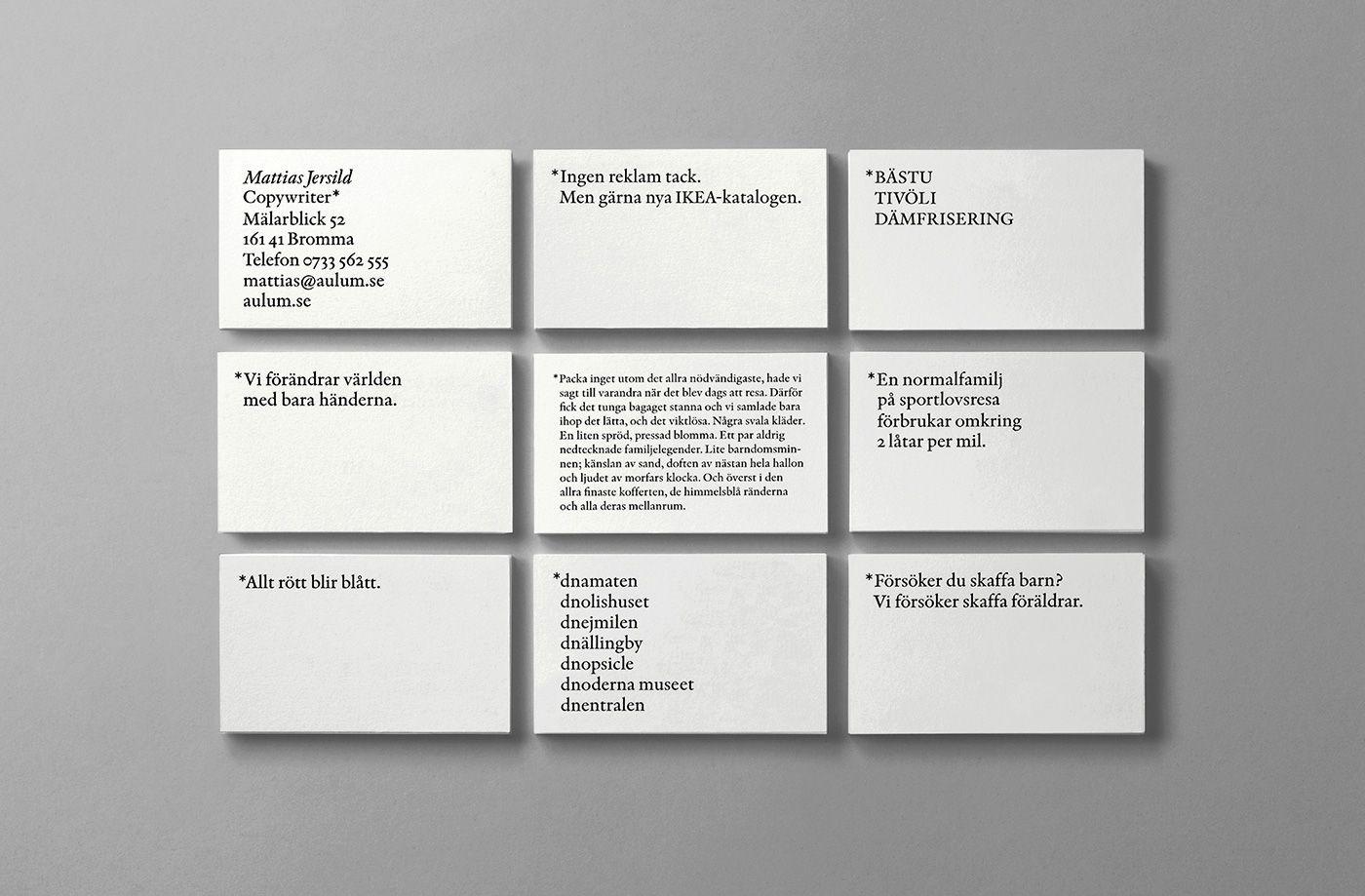 Mattias Jersild by BVD   business cards   Pinterest   Copywriter ...