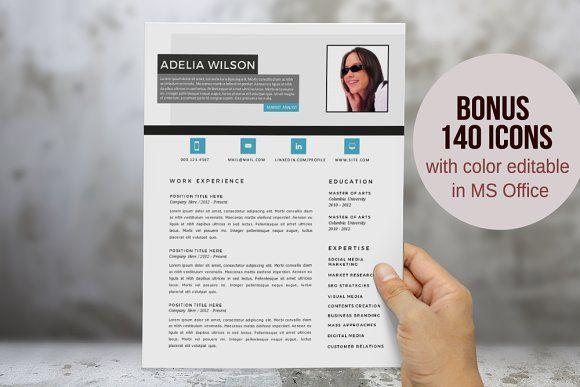 Aqua Photo 2 In 1 Word Resume Resume Template Resume Design Template Best Resume Template