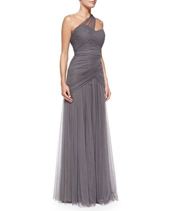 ML Monique Lhuillier One-Shoulder Draped Tulle Gown, Slate