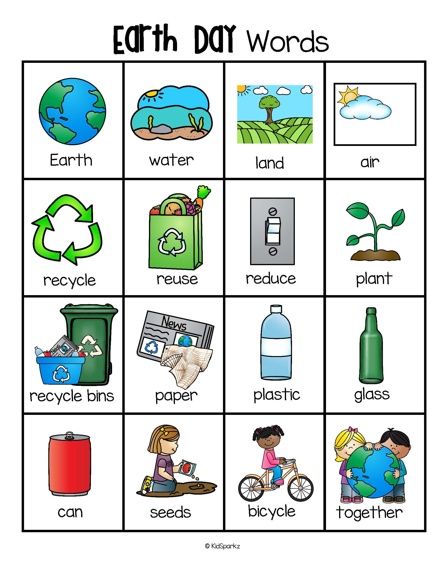 Earth Day Vocabulary Words Pictures Printable