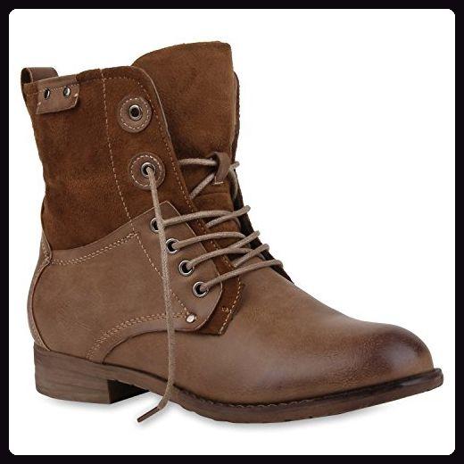 Damen Stiefeletten Profilsohle Worker Boots Leder Optik Schnurstiefeletten Camouflage Verlours Schuhe 107802 Stiefeletten Damen Schnurstiefeletten Stiefeletten
