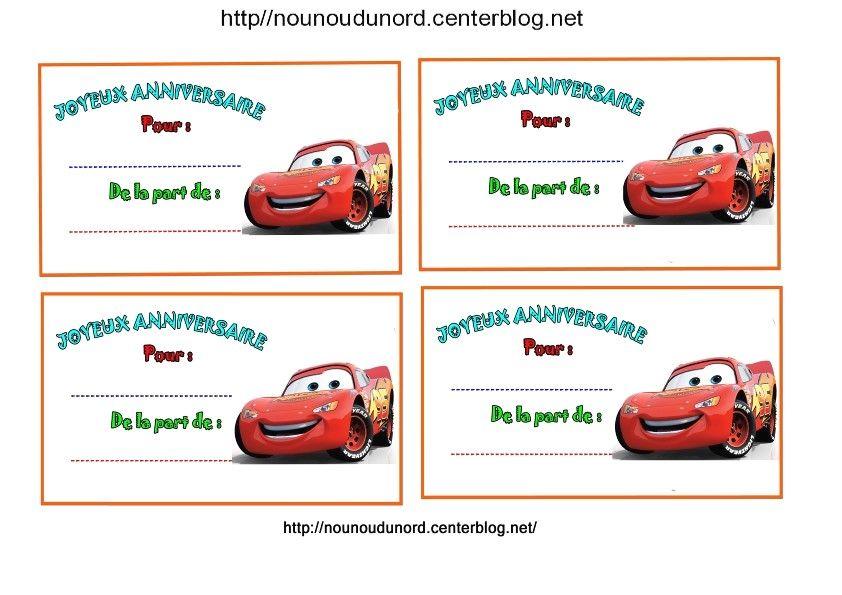 Extrêmement Anniversaire : Etiquettes et invitations cars http://nounoudunord  KS79