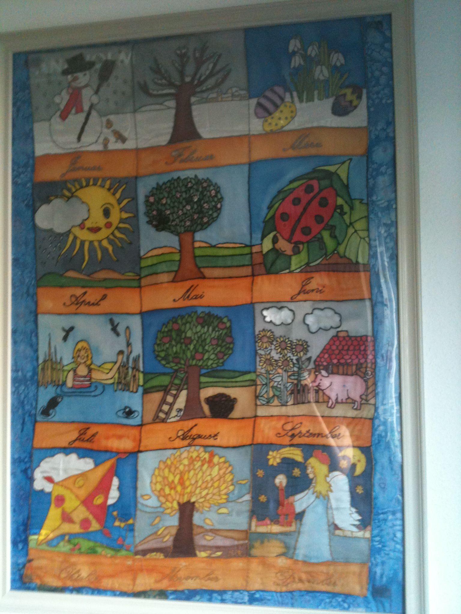 Kalender aus Seidenmalerei