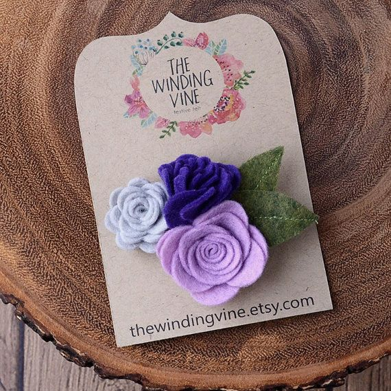 Purple/Lavender/Gray Felt Flower Hair Clip, Flower Cluster Barrette, Felt Hair Accessory for baby, toddler, child, teen, or adult