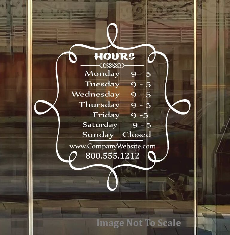 STORE HOURS NAME CUSTOM WINDOW DECAL COMPANY BUSINESS SHOP - Window decals for business atlanta