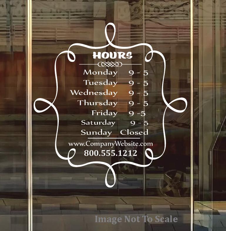 Hours Name Custom Window Decal