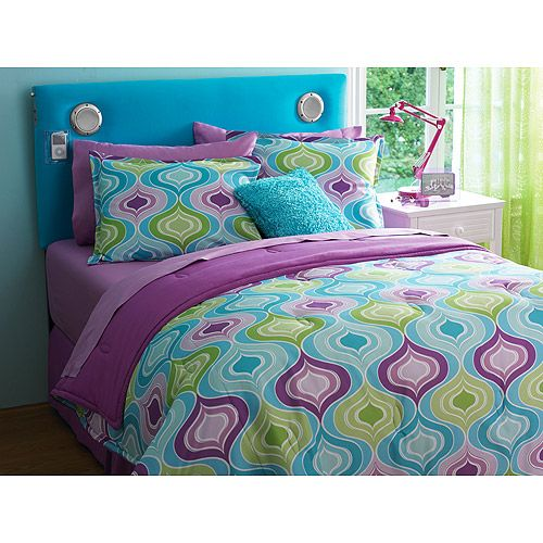 Your zone reversible comforter sham set ogee teal sachet comforter teen and girls - Cute teenage girl bedding sets ...