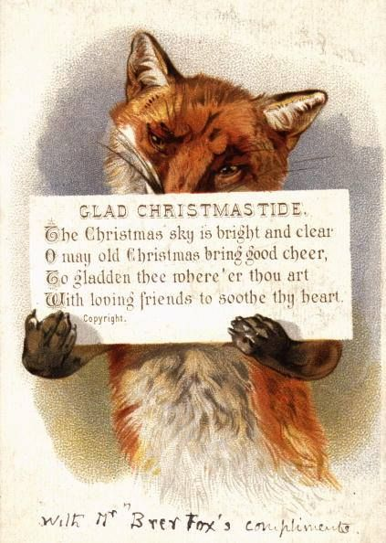 Fox vintage Christmas greeting