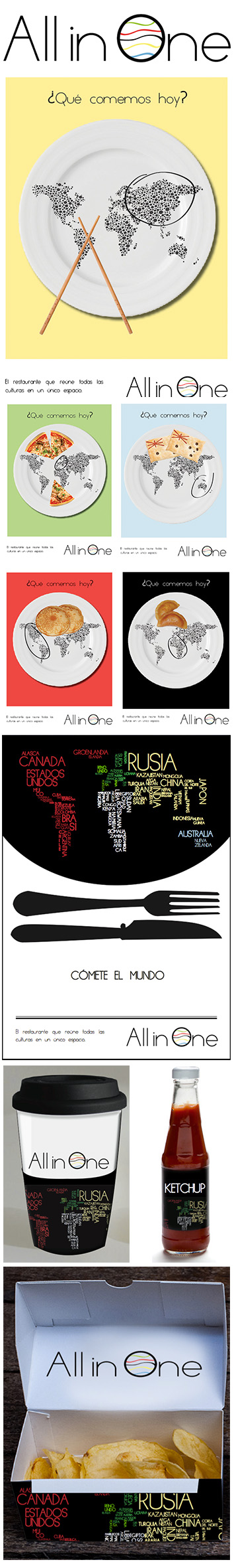 Logo, gràfiques i packaging, Restaurante All in One. Resumen del ...