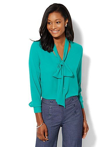 0c77eb453b441 Shop V-Neck Bow Blouse. Find your perfect size online at the best price at  New York   Company.