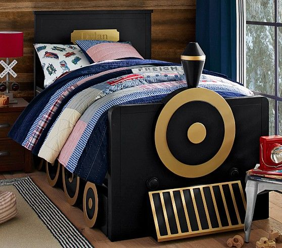 this Train Bed from Pottery Barn Kids is what toddler dreams are ...