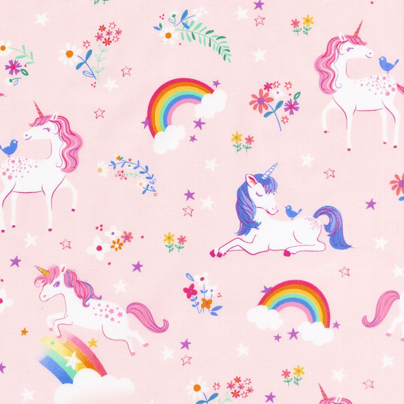 Happy Little Unicorns Unicorns And Rainbows Pink Yardage Little Unicorn Unicorn Birthday Invitations Unicorn
