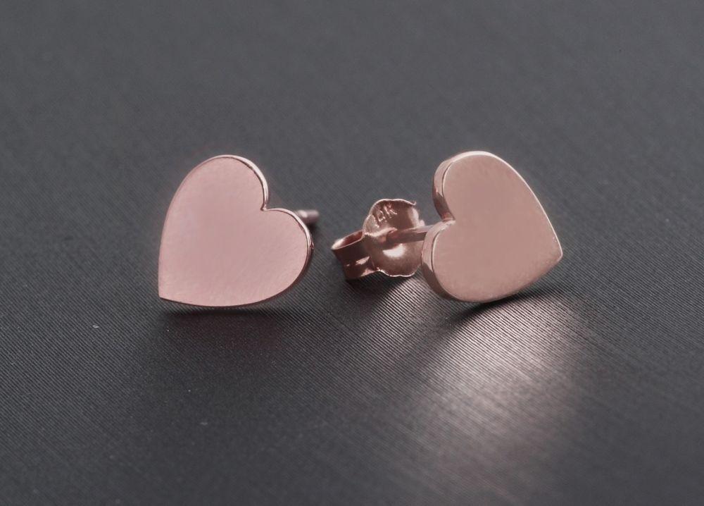 Flat Plain Heart Jewelry in 14k Real Solid Rose Gold Stud Earrings