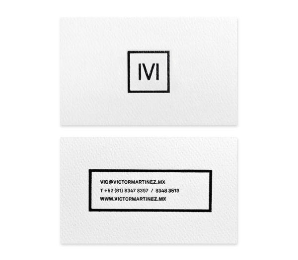Logo and black block foil embossed business card for architect and studio Victor Martinez designed by Face. #Logo #Design #Branding #Monogram