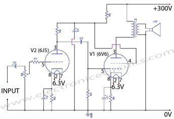 6V6 6J5 Class A Valve (Vacuum Tube) Amplifier Circuit