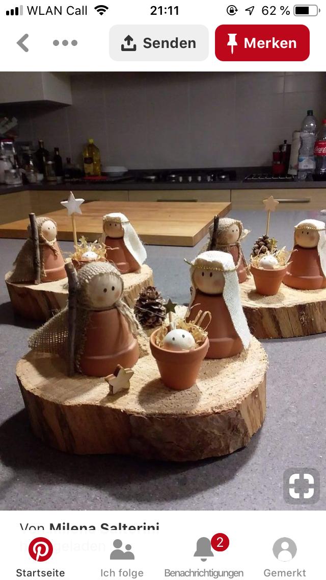 Houten kegelpopjes Maria, Jozef en kindje Jezus Peg doll nativity family #bastelideenweihnachten